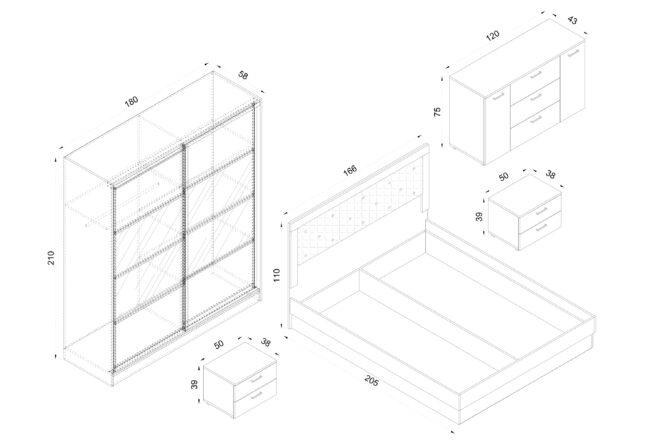 Спален комплект Ривиера схема